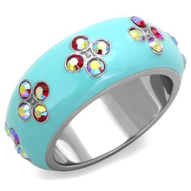 TK1768 - High polished (no plating) Stainless Steel Ring with Top Grade Crystal  in Light Rose