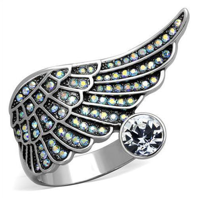 TK1769 - High polished (no plating) Stainless Steel Ring with Top Grade Crystal  in Clear
