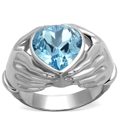 TK1775 - High polished (no plating) Stainless Steel Ring with Top Grade Crystal  in Sea Blue