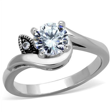 TK1776 - High polished (no plating) Stainless Steel Ring with AAA Grade CZ  in Clear