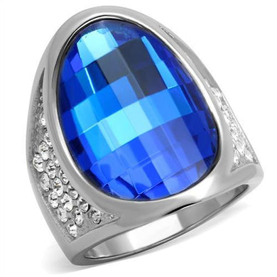 TK1778 - High polished (no plating) Stainless Steel Ring with Synthetic Synthetic Glass in Capri Blue