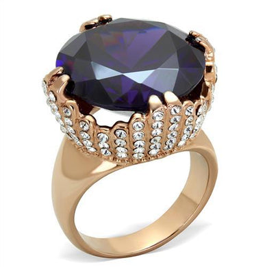 TK1786 - IP Rose Gold(Ion Plating) Stainless Steel Ring with AAA Grade CZ  in Amethyst