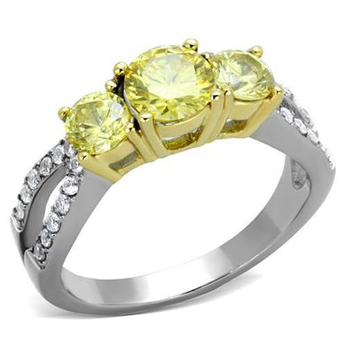 TK1795 - Two-Tone IP Gold (Ion Plating) Stainless Steel Ring with AAA Grade CZ  in Topaz