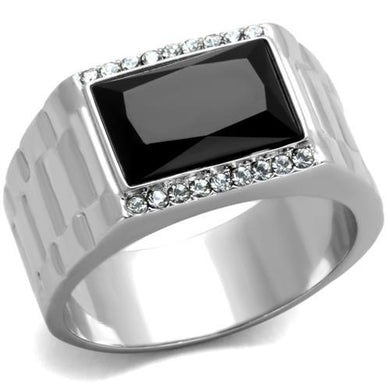 TK1811 - High polished (no plating) Stainless Steel Ring with Synthetic Onyx in Jet