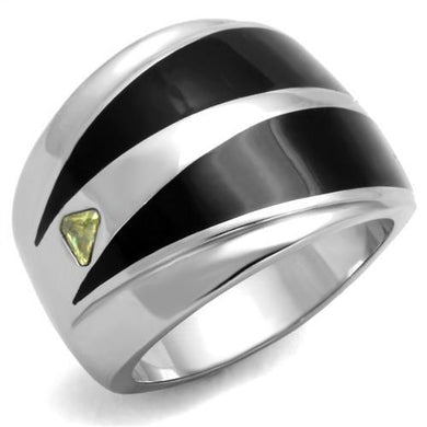 TK1815 - High polished (no plating) Stainless Steel Ring with AAA Grade CZ  in Topaz
