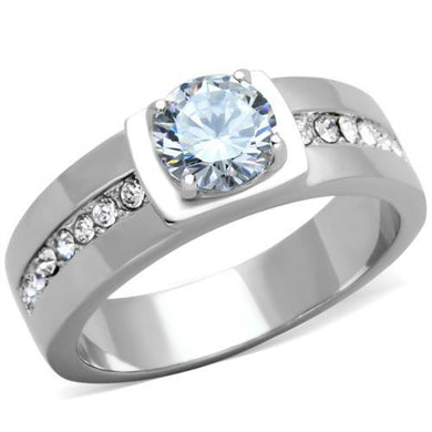 TK1816 - High polished (no plating) Stainless Steel Ring with AAA Grade CZ  in Clear