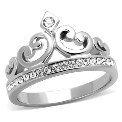 TK1821 - High polished (no plating) Stainless Steel Ring with Top Grade Crystal  in Clear