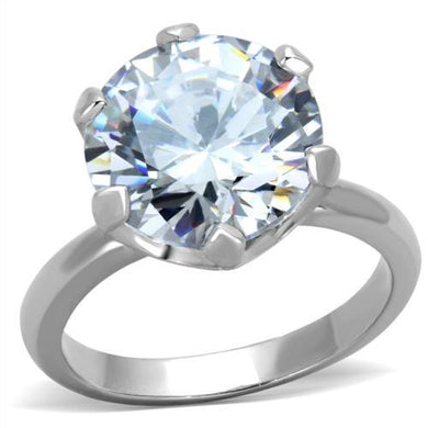 TK1823 - High polished (no plating) Stainless Steel Ring with AAA Grade CZ  in Clear