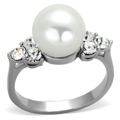 TK1824 - High polished (no plating) Stainless Steel Ring with Synthetic Pearl in White