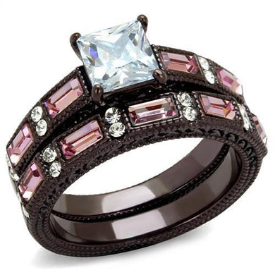 TK1829DC - IP Dark Brown (IP coffee) Stainless Steel Ring with AAA Grade CZ  in Clear