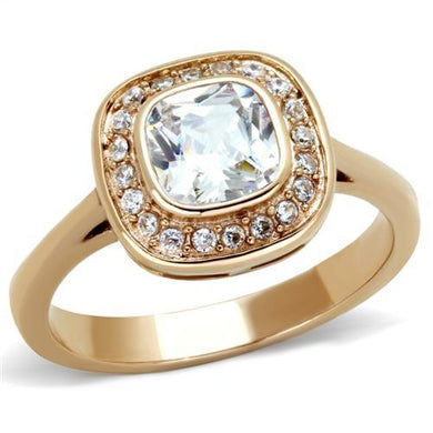TK1844 - IP Rose Gold(Ion Plating) Stainless Steel Ring with AAA Grade CZ  in Clear