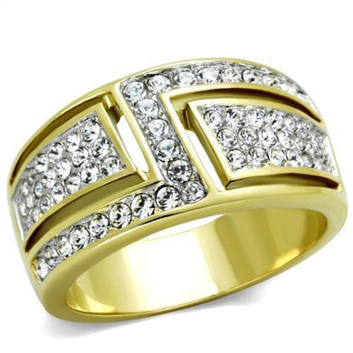 TK1845 - Two-Tone IP Gold (Ion Plating) Stainless Steel Ring with Top Grade Crystal  in Clear