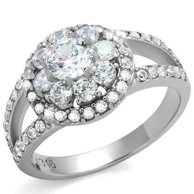 TK1855 - High polished (no plating) Stainless Steel Ring with AAA Grade CZ  in Clear