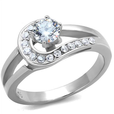 TK1857 - High polished (no plating) Stainless Steel Ring with AAA Grade CZ  in Clear