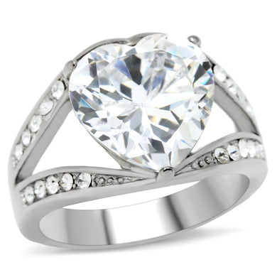 TK185 - High polished (no plating) Stainless Steel Ring with AAA Grade CZ  in Clear