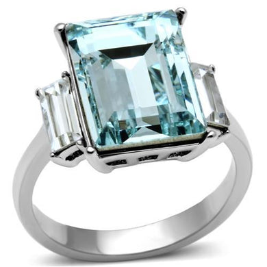 TK1862 - High polished (no plating) Stainless Steel Ring with Top Grade Crystal  in Sea Blue