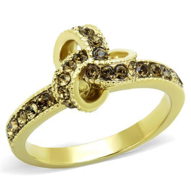 TK1874 - IP Gold(Ion Plating) Stainless Steel Ring with Top Grade Crystal  in Smoked Quartz