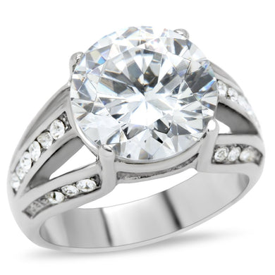 TK187 - High polished (no plating) Stainless Steel Ring with AAA Grade CZ  in Clear