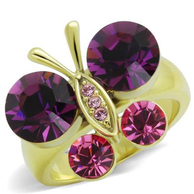 TK1889 - IP Gold(Ion Plating) Stainless Steel Ring with Top Grade Crystal  in Amethyst