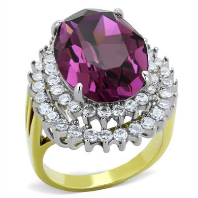 TK1892 - Two-Tone IP Gold (Ion Plating) Stainless Steel Ring with Top Grade Crystal  in Amethyst