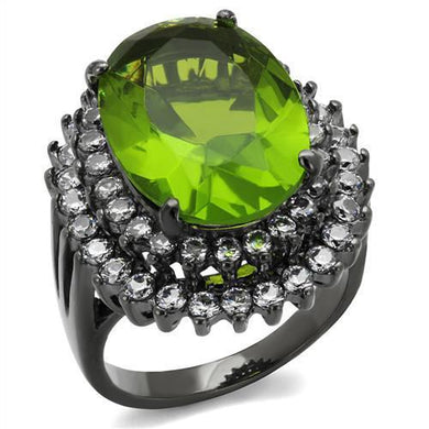TK1892LJ - IP Light Black  (IP Gun) Stainless Steel Ring with Synthetic Synthetic Glass in Peridot