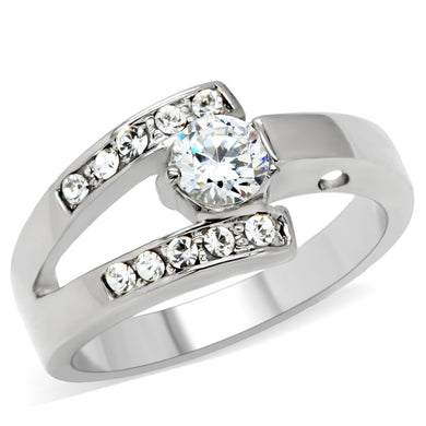 TK189 - High polished (no plating) Stainless Steel Ring with AAA Grade CZ  in Clear