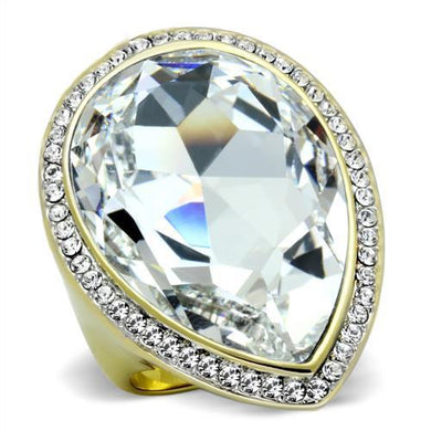 TK1905 - Two-Tone IP Gold (Ion Plating) Stainless Steel Ring with Top Grade Crystal  in Clear