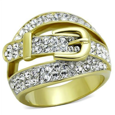TK1906 - Two-Tone IP Gold (Ion Plating) Stainless Steel Ring with Top Grade Crystal  in Clear