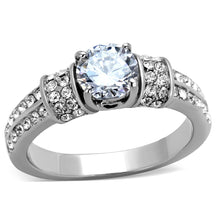 Load image into Gallery viewer, TK1921 - High polished (no plating) Stainless Steel Ring with AAA Grade CZ  in Clear