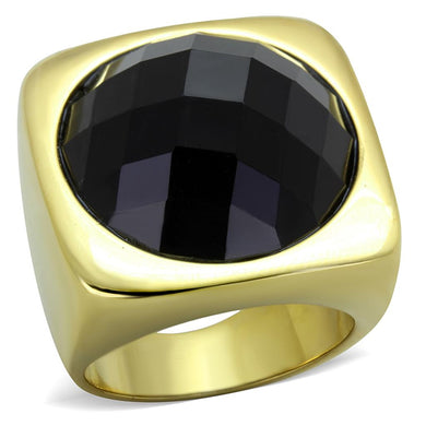 TK1925 - IP Gold(Ion Plating) Stainless Steel Ring with Synthetic Synthetic Stone in Jet