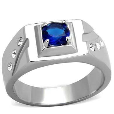 TK1929 - High polished (no plating) Stainless Steel Ring with Synthetic Synthetic Glass in Montana