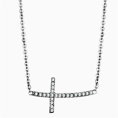 TK1931 - High polished (no plating) Stainless Steel Necklace with Top Grade Crystal  in Clear