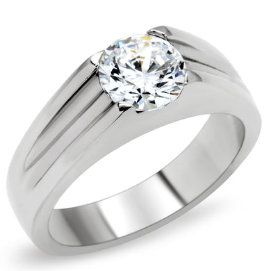 TK193 - High polished (no plating) Stainless Steel Ring with AAA Grade CZ  in Clear