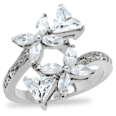 TK196 - High polished (no plating) Stainless Steel Ring with AAA Grade CZ  in Clear