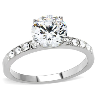 TK198 - High polished (no plating) Stainless Steel Ring with AAA Grade CZ  in Clear