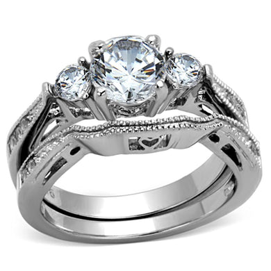 TK1W002 - High polished (no plating) Stainless Steel Ring with AAA Grade CZ  in Clear