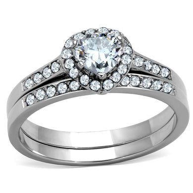 TK1W161 - High polished (no plating) Stainless Steel Ring with AAA Grade CZ  in Clear