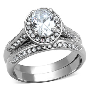 TK1W163 - High polished (no plating) Stainless Steel Ring with AAA Grade CZ  in Clear