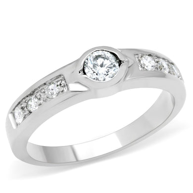 TK200 - High polished (no plating) Stainless Steel Ring with AAA Grade CZ  in Clear