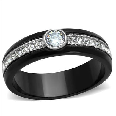 TK2019 - Two-Tone IP Black (Ion Plating) Stainless Steel Ring with AAA Grade CZ  in Clear