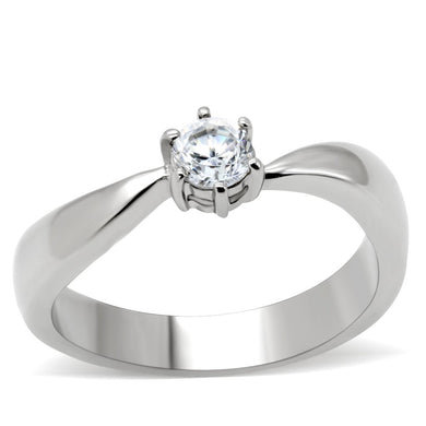 TK201 - High polished (no plating) Stainless Steel Ring with AAA Grade CZ  in Clear