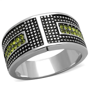 TK2022 - High polished (no plating) Stainless Steel Ring with Top Grade Crystal  in Olivine color