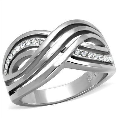 TK2025 - High polished (no plating) Stainless Steel Ring with Top Grade Crystal  in Clear