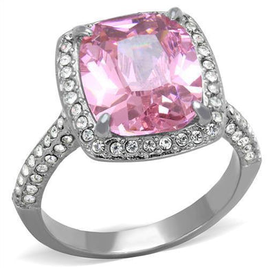 TK2027 - High polished (no plating) Stainless Steel Ring with AAA Grade CZ  in Rose