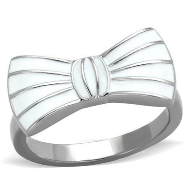 TK2028 - High polished (no plating) Stainless Steel Ring with Epoxy  in White