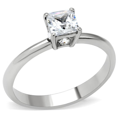 TK202 - High polished (no plating) Stainless Steel Ring with AAA Grade CZ  in Clear