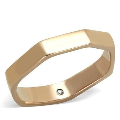 TK2030 - IP Rose Gold(Ion Plating) Stainless Steel Ring with Top Grade Crystal  in Clear
