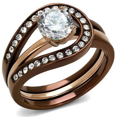 TK2032LC - IP Rose Gold & IP light Coffee Stainless Steel Ring with AAA Grade CZ  in Clear