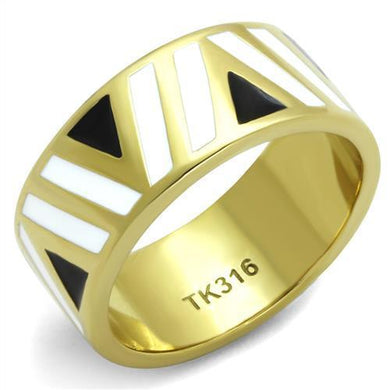 TK2037 - IP Gold(Ion Plating) Stainless Steel Ring with Epoxy  in Multi Color