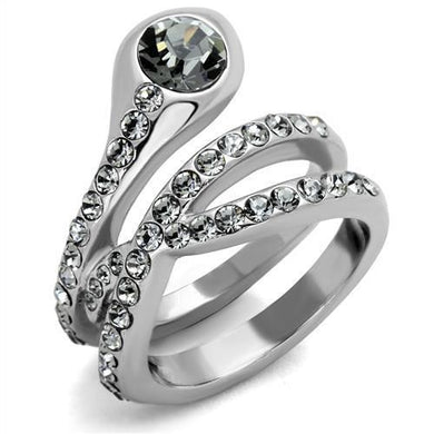TK2038 - High polished (no plating) Stainless Steel Ring with Top Grade Crystal  in Black Diamond